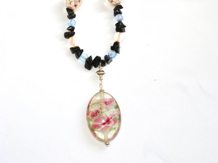 ST294      Murano Glass Necklace, Earrings and Bracelet  in Sterling Silver