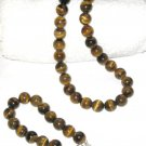 ST305     Tiger's Eye Necklace and Bracelet in Sterling Silver