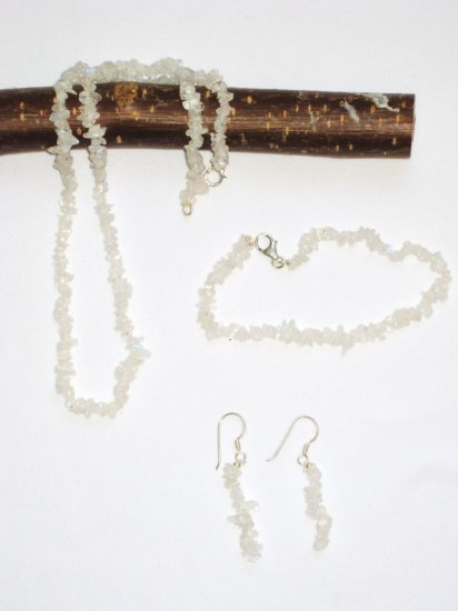 ST315      Moonstone Necklace, Bracelet and Earrings  in Sterling Silver