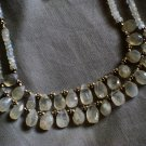 ST593      Moonstone Necklace and Earrings  in Sterling Silver