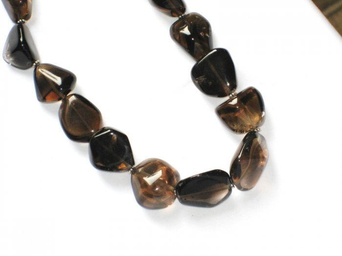 ST042    Smoky Quartz Necklace in Sterling Silver