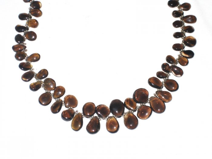 ST497    Smoky Quartz Necklace in Sterling Silver