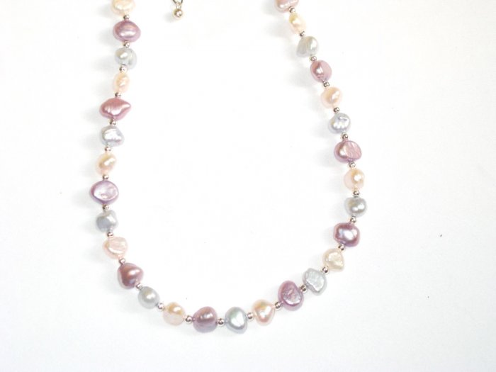 ST289  Pearl Necklace in Sterling Silver