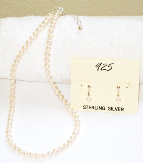 ST310  Pearl Necklace and Earrings Set in Sterling Silver