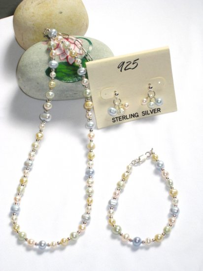 ST328  Pearl Necklace, Bracelet  and Earrings Set in Sterling Silver