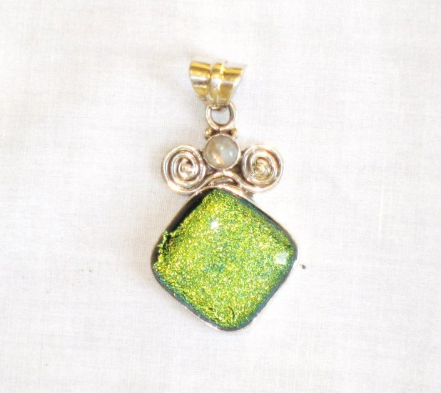 PN388 Dichroic Glass Sterling Silver Pendant - SOLD