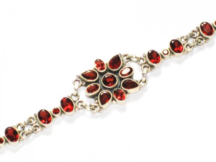 ST233 Garnet Bracelet in Sterling Silver