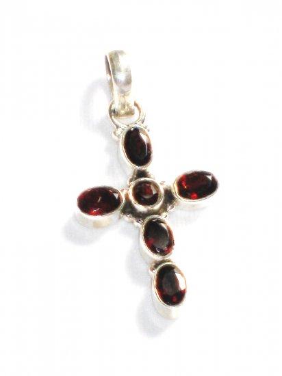 ST225 Garnet Cross Pendant in Sterling Silver - SOLD