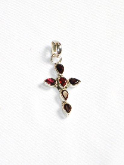 ST232 Garnet  Cross Pendant in Sterling Silver