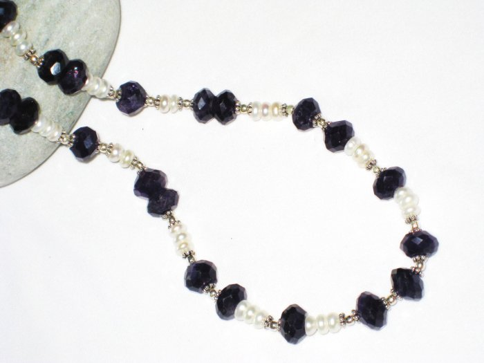 ST441     Amethyst Necklace  in Sterling Silver