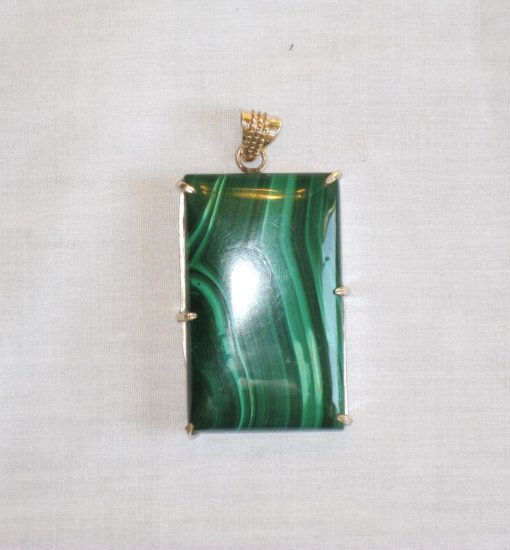 PN408 Malachite Pendant in Sterling Silver