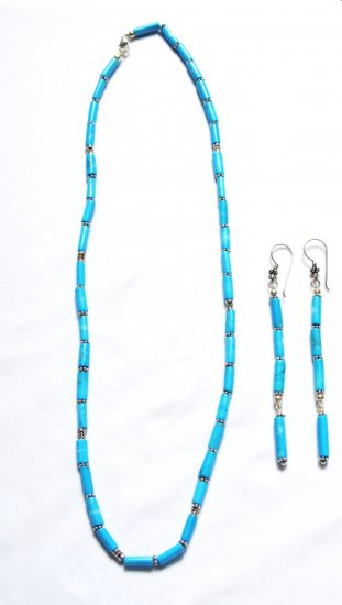 ST192 Turquoise Necklace and Earrings Set in Sterling Silver