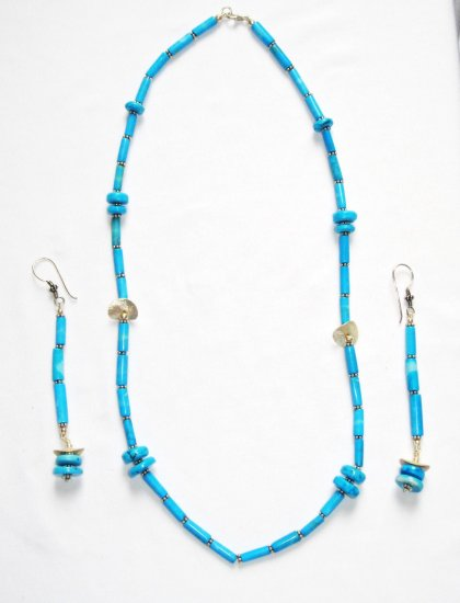 ST193 Turquoise Necklace and Earrings Set in Sterling Silver