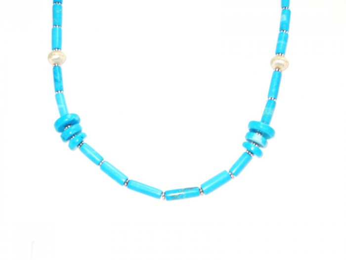 ST195 Turquoise Necklace and Earrings Set in Sterling Silver