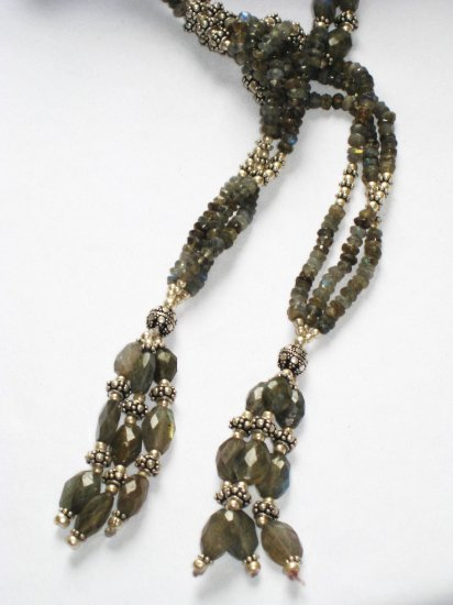 ST055 Labradorite Wrap Necklace in Sterling Silver