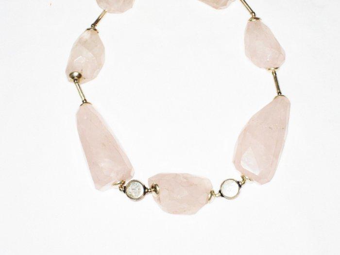 ST533 Rose Quartz Necklace in Sterling Silver