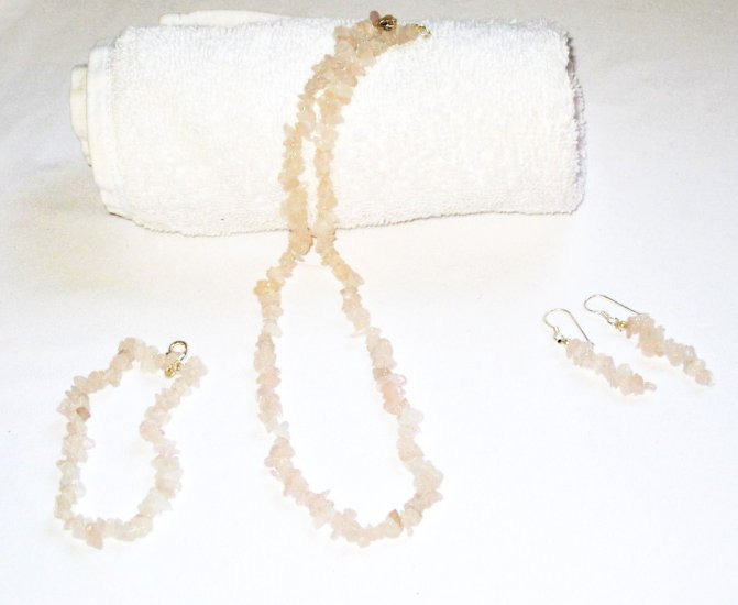 ST312 Rose Quartz Necklace, Earrings and Bracelet Set in Sterling Silver
