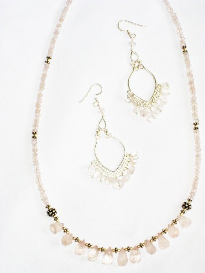 ST595 Rose Quartz Necklace, Earrings Set in Sterling Silver