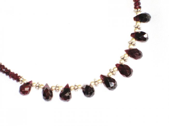ST589 Garnet Necklace and Earrings Set  in Sterling Silver
