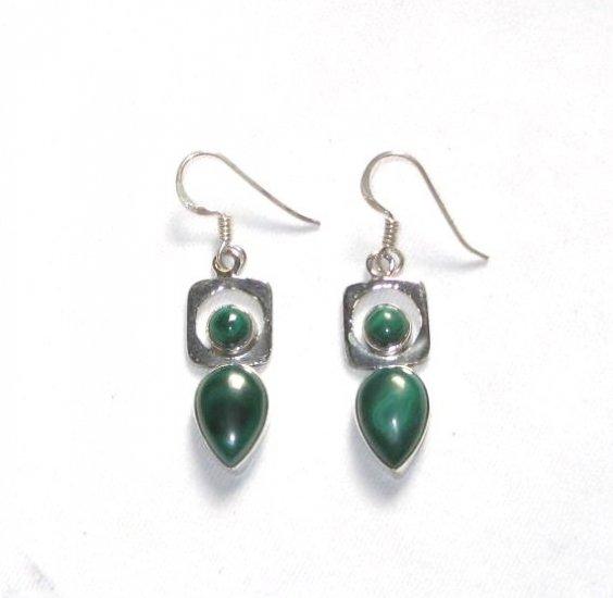 ER047 Malachite Earrings in Sterling Silver