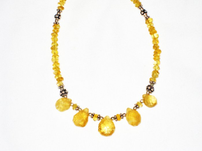 ST557 Citrine Necklace in Sterling Silver