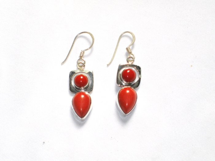 ER049 Coral Earrings in Sterling Silver