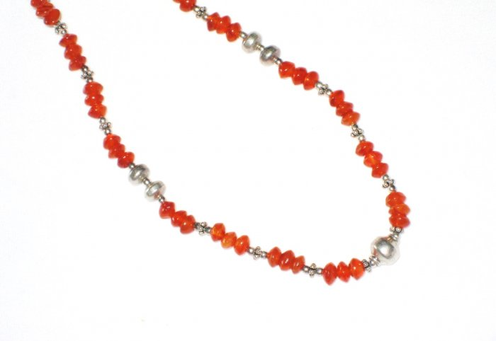 ST437 Coral Necklace in Sterling Silver