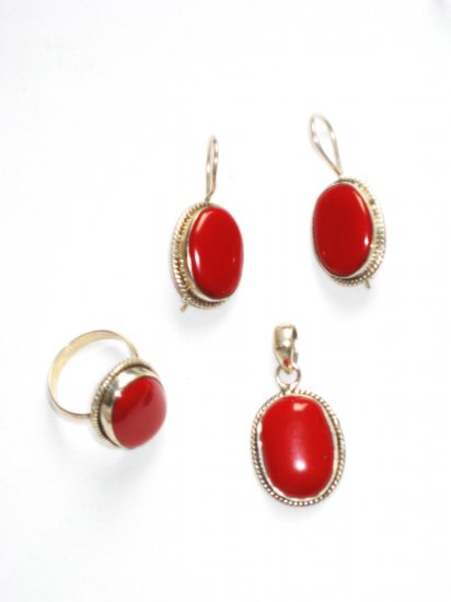 ER111 Coral Pendant, Ring and Earrings Set in Sterling Silver