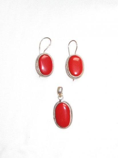 ER112 Coral Pendant and Earrings Set in Sterling Silver