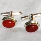 ST642 Carnelian Cufflinks in Sterling Silver