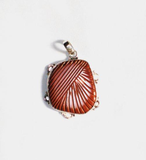 PN139 Carved Red Jasper Pendant
