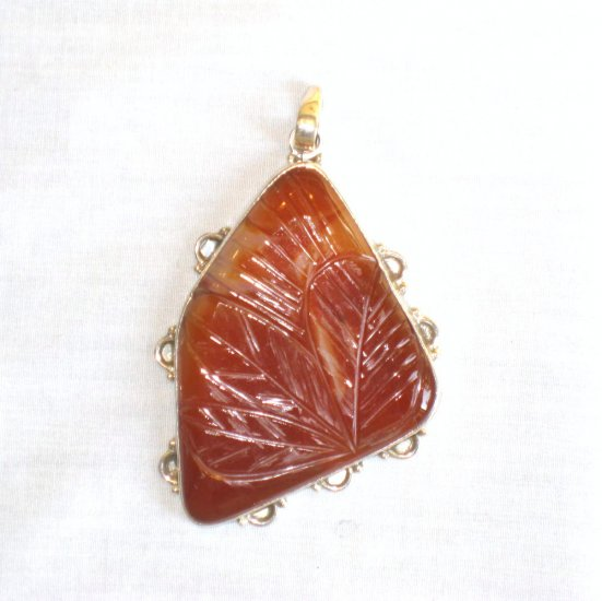 PN390 Carved Red Jasper Pendant