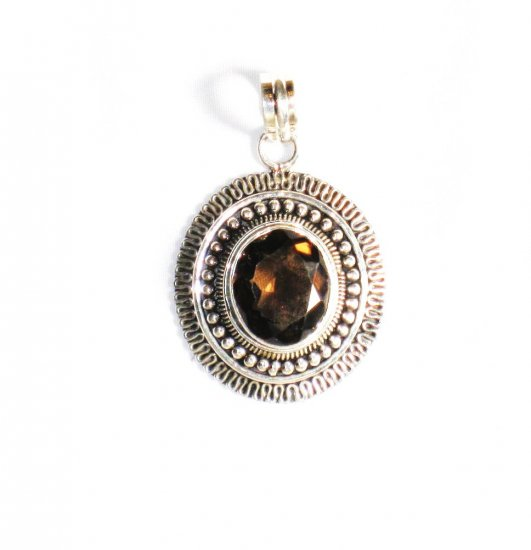 PN207 Smoky Quartz Pendant in Sterling Silver