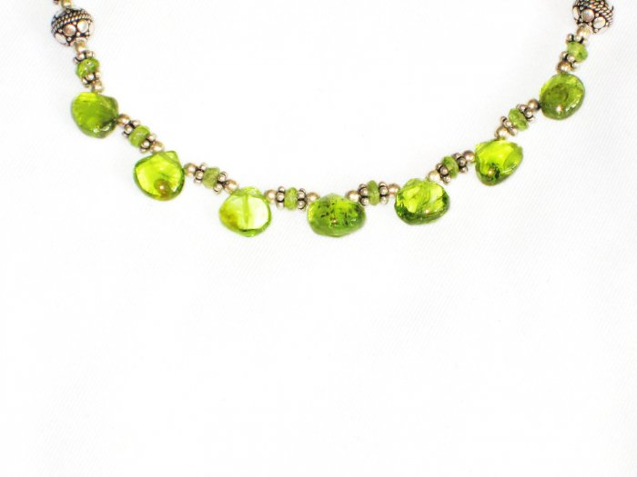 ST592 Peridot Necklace and Earrings Set in Sterling Silver