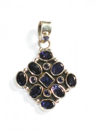 ST222       Blue Cuboc Zirconia Pendant in Sterling Silver