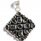 ST224       Blue Cuboc Zirconia Pendant in Sterling Silver