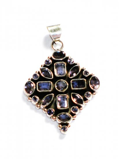 ST227       Blue Cuboc Zirconia Pendant in Sterling Silver