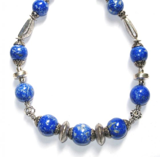 ST040      Blue Jasper Necklace in Sterling Silver