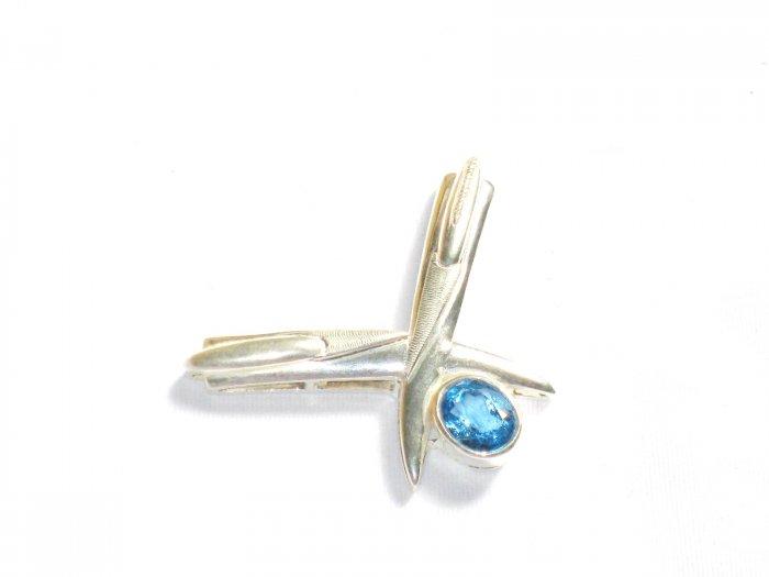 ST249 Blue Topaz Pendant in sterling silver