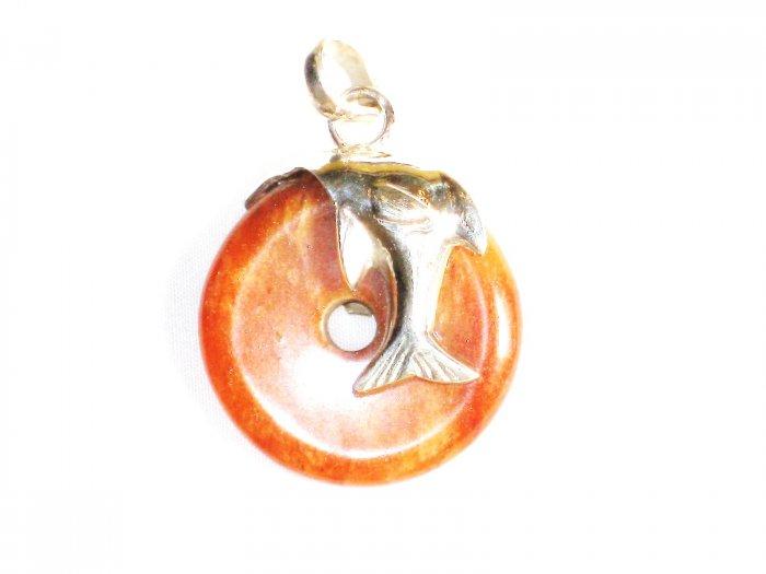 PN248 Donut Carnelian Pendant in Sterling Silver