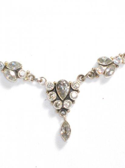 ST246      Cuboc Zirconia Necklace in Sterling Silver