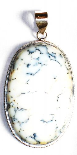 PN253     Dendrite Opal Pendant in Sterling Silver