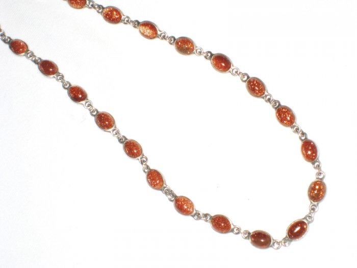 ST462   Goldstone Necklace in Sterling Silver