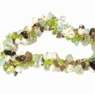 ST130       Pearl, Peridot, Blue Topaz and Smoky Quartz Bracelet in Sterling Silver
