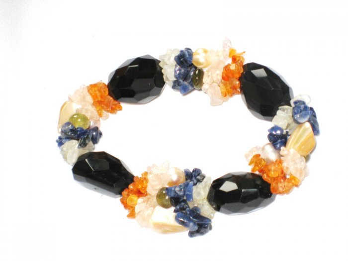 ST143       Mixed Stones Bracelet in Sterling Silver