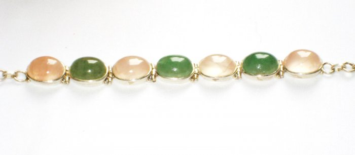 ST149       Green Onyx and Rose Quartz Bracelet in Sterling Silver