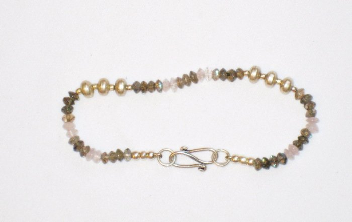 ST180       Moonstone and Labradorite Bracelet in Sterling Silver