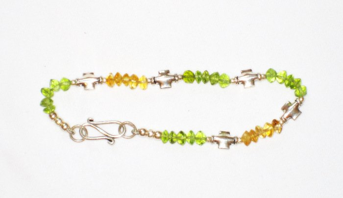ST182       Citrine and Peridot Bracelet in Sterling Silver