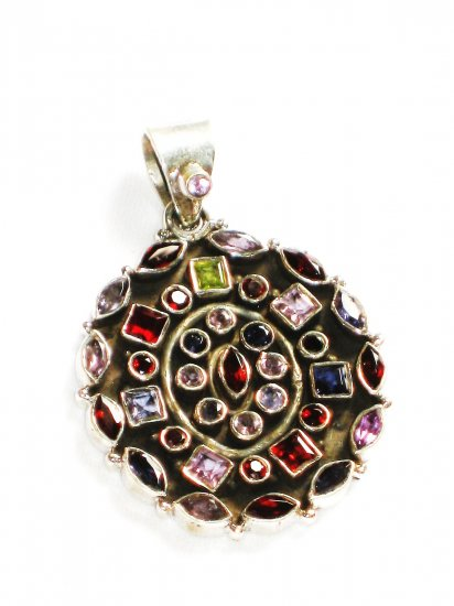 ST211       Cut Stone Mixed Stones Pendant in Sterling Silver