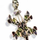 ST213       Cut Stone Mixed Stones Pendant in Sterling Silver